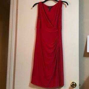 Red V Neck Dress